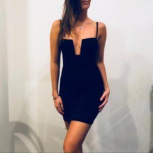 Nookie Black Stadium V-Neck Mini Bodycon Dress